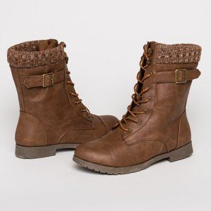 Ardene Brown Laced Combat Boots with Knit